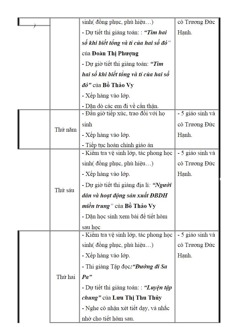 Sổ nhật ký thực tập sư phạm tiểu học trang 6